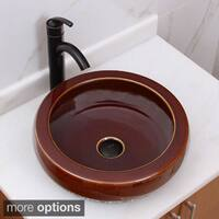 ELIMAX'S 2007+882002 Shine Bronze Glaze Pattern Porcelain Ceramic Bathroom Vessel Sink With Faucet Combo