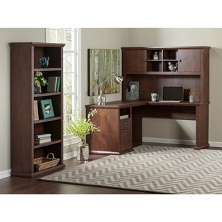 Yorktown L Shaped Desk with Hutch and Bookcase in Antique Cherry