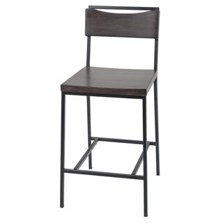 Clay Alder Home Halfway Metal Bar or Counter Stool with Wood Seat
