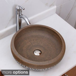 ELIMAX'S 2005+882002 Sandstone Glaze Pattern Porcelain Ceramic Bathroom Vessel Sink With Faucet Combo