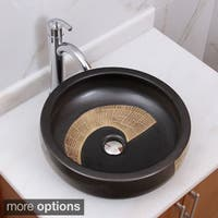 ELIMAX'S 2004+882002 Black and Gold Brown Porcelain Ceramic Bathroom Vessel Sink With Faucet Combo