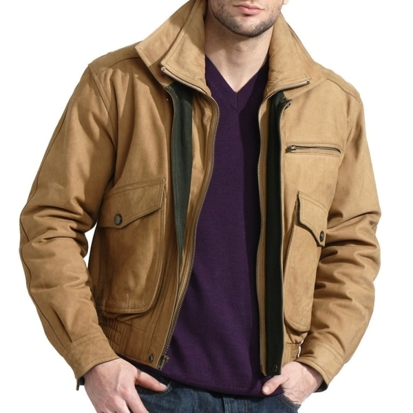 Men's Tan Genuine Nubuck Leather Bomber Jacket - Free Shipping ...
