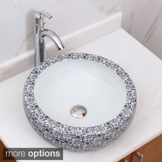 ELIMAX'S 2003+882002 Chrysanthemum Blue and White Porcelain Ceramic Bathroom Vessel Sink With Faucet Combo