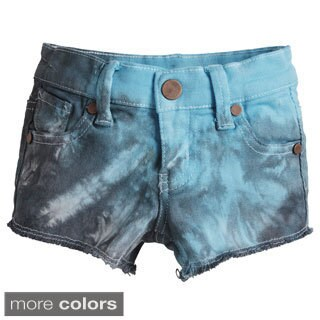 Chillykids Girls' Frayed Hem Tie Dye Denim Shorts