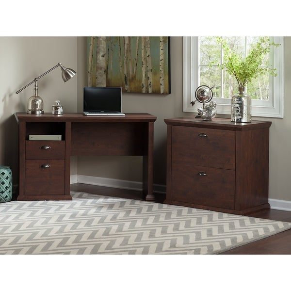 Bush Furniture Yorktown Home Office Desk and Lateral File Cabinet in Antique  Cherry - Shop Bush Furniture Yorktown Home Office Desk And Lateral File