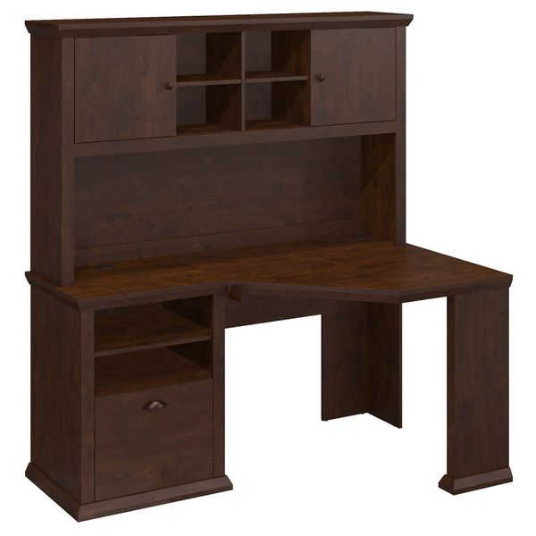 Yorktown Antique Cherry Corner Desk With Hutch   Free Shipping Today    Overstock.com   17285842