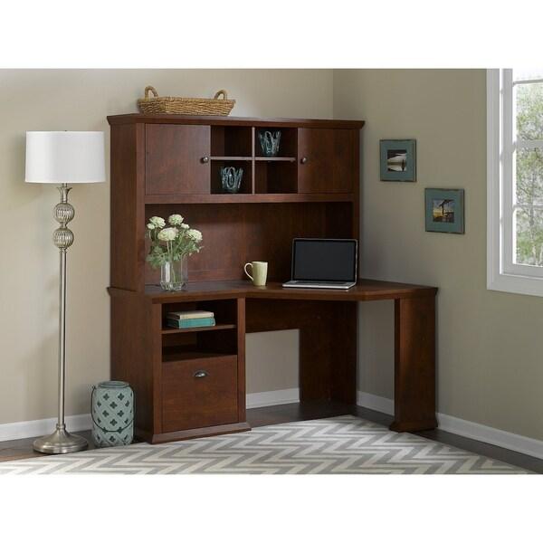 Bush Furniture Yorktown Corner Desk With Hutch In Antique Cherry