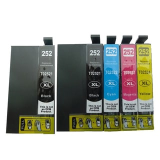 5-pack Replacing T252XL Ink Cartridge for Epson WF-3620 WF-3640 WF-7110 WF-7610 WF-7620 Printer