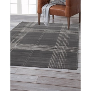 Colby Plaid Grey Area Rug by Greyson Living (7'9 x 10'6)
