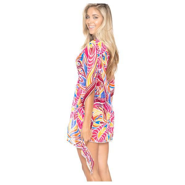 La Leela Beachwear Chiffon Kaftan Bikini Cover up Dress Swimwear Cap  Sleeves Plus Size Pink