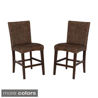 Shop Montgomery Rattan Woven Counter Height Stools Set Of