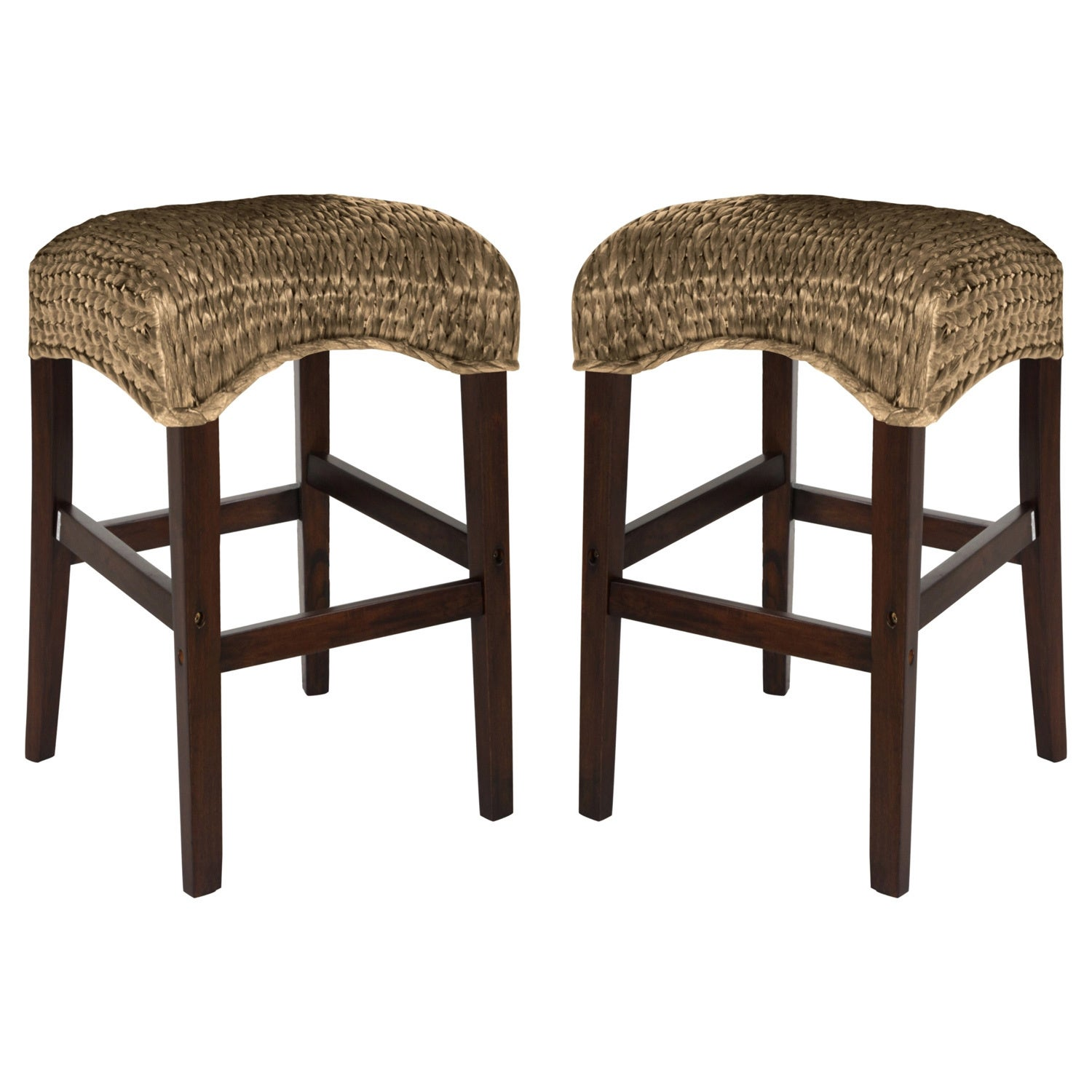 White Modern Desk Chair, Shop Montgomery Rattan Woven Counter Height Backless Stools Set Of 2 Overstock 10156628