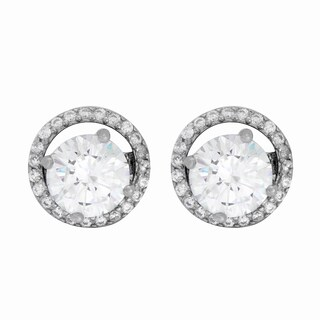Sterling Essentials Rhodium Plated Silver Large Round CZ Stud Earring