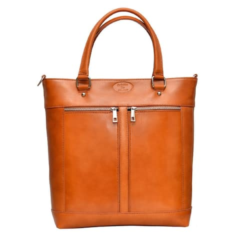 Deleite by Sharo Apricot Italian Leather Laptop Tote Bag - Orange - Medium