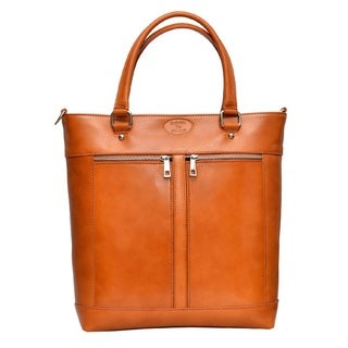 Deleite by Sharo Apricot Italian Leather Laptop Tote Bag