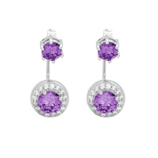 Sterling Essentials Rhodium Plated Silver Front-Back Purple CZ Earrings