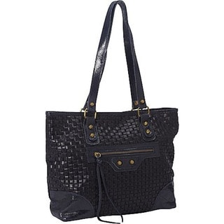 Deleite by Sharo Italian Leather Woven Dark Navy Tote Bag