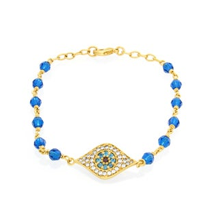 Sterling Essentials Gold Plated Bronze Capri Blue Crystal 'Evil Eye' Bracelet