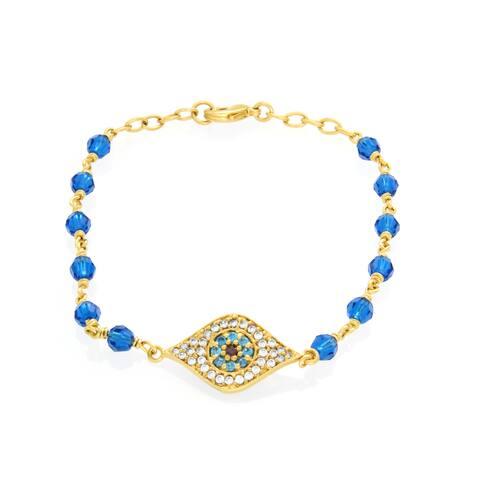 Roberto Martinez Gold Plated Brass Capri Blue Crystal 'Evil Eye' Bracelet