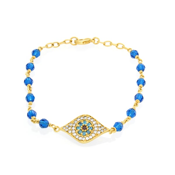 Gold Plated Bronze Capri Blue Crystal 'Evil Eye' Bracelet