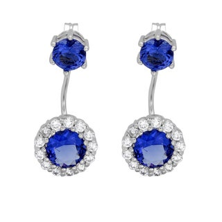 Sterling Essentials Rhodium Plated Silver Front Back Blue Cubic Zirconia Earrings