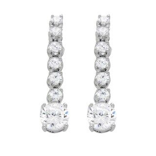 Rhodium Plated Sterling Silver Dangle CZ Earrings