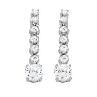 Rhodium Plated Sterling Silver Dangle CZ Earrings|https://ak1.ostkcdn.com/images/products/10156660/P17285951.jpg?impolicy=medium