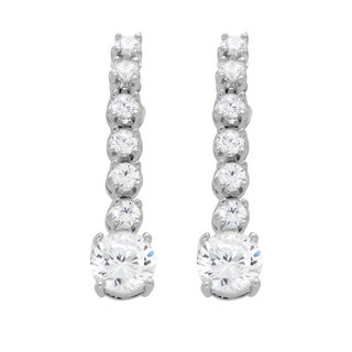 Sterling Essentials Rhodium Plated Silver Dangle CZ Earrings