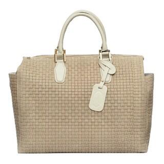 Deleite by Sharo Beige Italian Leather Woven Satchel Handbag
