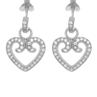 Sterling Essentials Rhodium Plated Silver Heart CZ Earrings