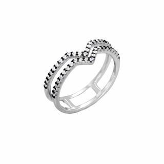 Sterling Essentials Rhodium Plated Silver Double Chevron Band CZ Ring