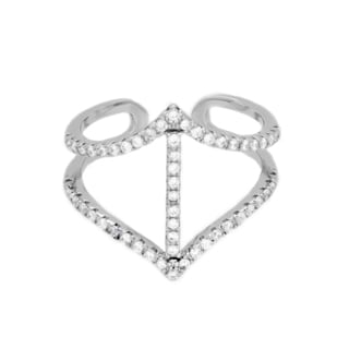 Sterling Essentials Rhodium Plated Silver Double Arrow Cage CZ Ring