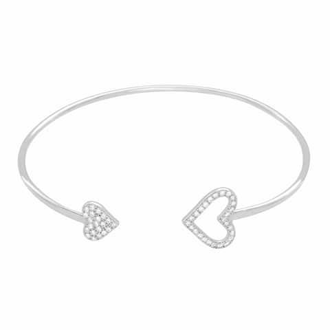 Sterling Essentials Rhodium Plated Silver Hearts CZ Bracelet