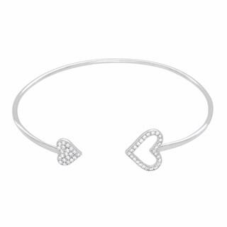 Rhodium Plated Sterling Silver Hearts CZ Bracelet