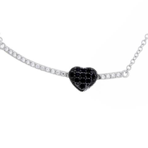 Sterling Essentials Rhodium Plated Silver Bar with Black Heart CZ Necklace