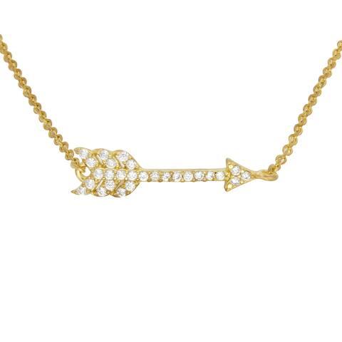 Sterling Essentials 14k Rose Gold Plated Silver Arrow CZ Bracelet