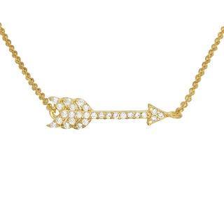 14k Rose Gold Plated Sterling Silver Arrow CZ Bracelet