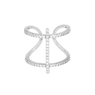 Sterling Essentials Rhodium Plated Silver Double Cross Cage CZ Ring