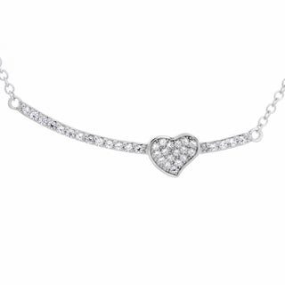 Sterling Essentials Rhodium Plated Silver Bar with Heart CZ Necklace