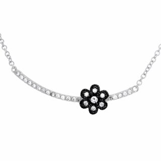 Sterling Essentials Rhodium Plated Silver Bar with Flower CZ Necklace