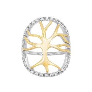 Sterling Essentials Two-Toned Gold Plated Silver Enclosed Tree Of Life Cz Ring