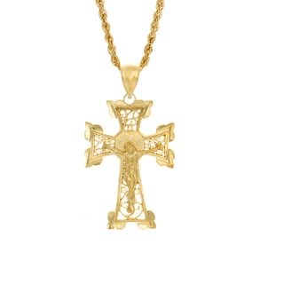 Sterling Essentials 14K Gold Plated Silver Crucifix Laser Rope Necklace (3mm)