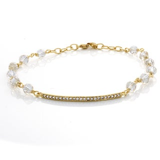 Sterling Essentials Gold Plated Bronze Bar Crystal Bracelet