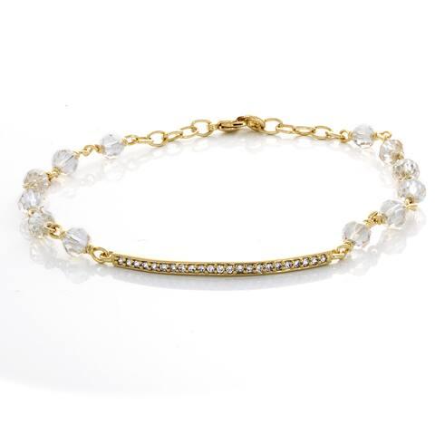 Roberto Martinez Gold Plated Brass Bar Crystal Bracelet