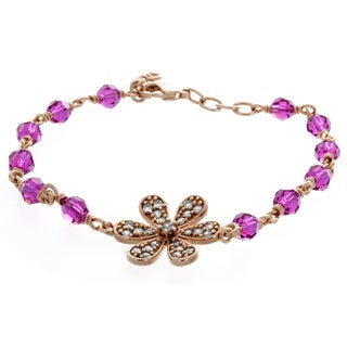 Sterling Essentials Rose Gold Plated Bronze Flower Bracelet