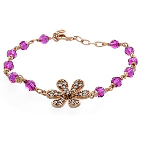 Sterling Essentials Rose Gold Plated Bronze Flower Bracelet