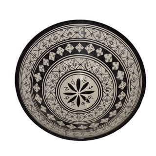 Handmade Moroccan Black and White Ceramic Bowl (Morocco)
