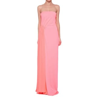 Halston Heritage Women's Pink and Coral Strapless Evening Gown