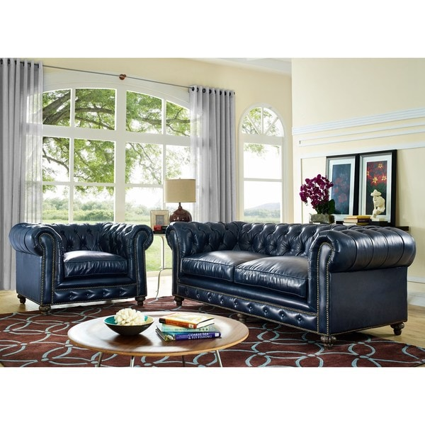 Shop Durango Rustic Blue Leather Living Room Set - Free Shipping ...