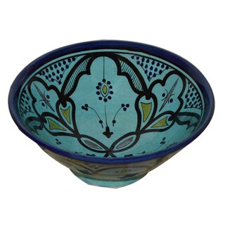 Handmade Moroccan Aqua Ceramic Bowl (Morocco)